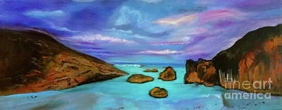 Painting - Sunset On Tropical Beach by Jenny Lee