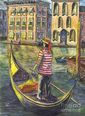 Sunset On Venice - The Gondolier Art Print by Carol Wisniewski