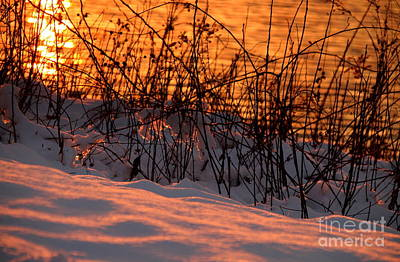 Photograph - Sunset On Water And Snow by Lennie Malvone