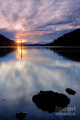 Sunset On Wolf Lodge Bay Art Print by Idaho Scenic Images Linda Lantzy