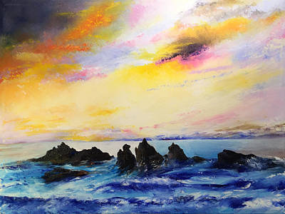 Painting - Sunset, Oregon Coast by Terry R MacDonald