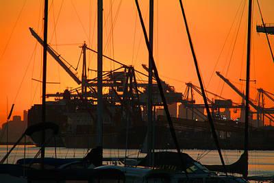 Sunset Over Alameda Harbor Art Print by Charles  Ridgway