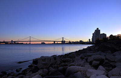 Photograph - Sunset Over Ben Franklin Bridge by Andrew Dinh