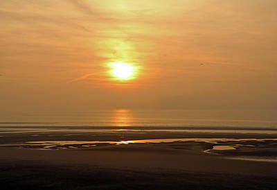 Photograph - Sunset Over Blackpool Beach  by Tony Murtagh