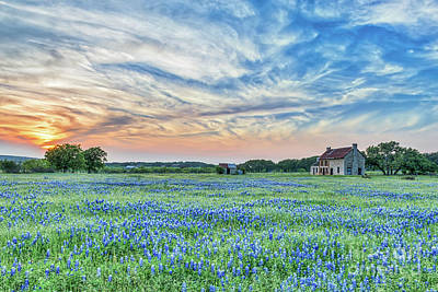 Wildflowers Photograph - Sunset Over Bluebonnets And Farmhouse by Tod and Cynthia Grubbs