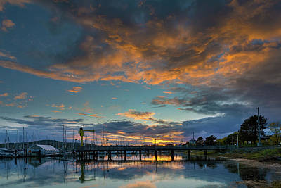 Photograph - Sunset Over Boat Ramp At Anacortes Marina by David Gn