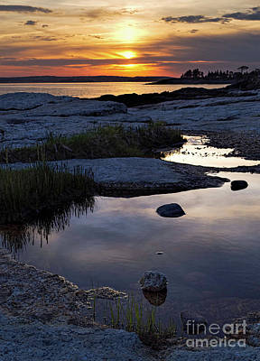 Photograph - Sunset Over Boothbay Harbor Maine  -23095-23099 by John Bald
