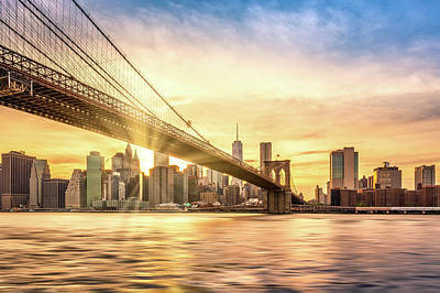Photograph - Sunset Over Brooklyn Bridge In New York City by Mihai Andritoiu