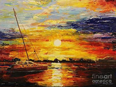 Brilliant Sun Painting - Sunset Over Charleston Harbor by Rich Donadio