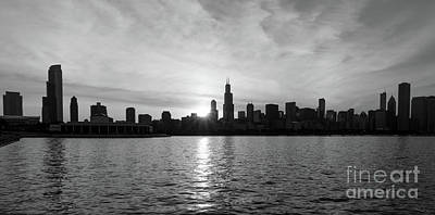 Photograph - Sunset Over Chicago Pano Grayscale by Jennifer White