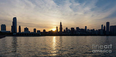Photograph - Sunset Over Chicago Pano by Jennifer White