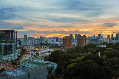 Photograph - Sunset Over Clarke Quay And Fort Canning Park by David Gn