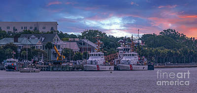 Photograph - Sunset Over Coast Guard Charleston  by Dale Powell