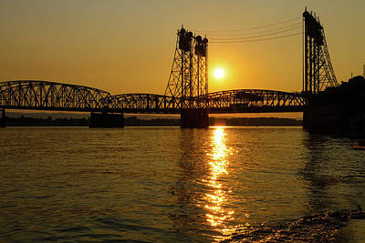 Sun Photograph - Sunset Over Columbia Crossing I-5 Bridge by David Gn