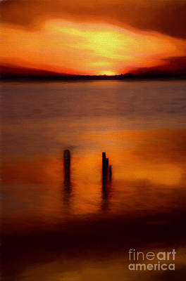 Painting - Sunset Over Currituck Sound Ap by Dan Carmichael