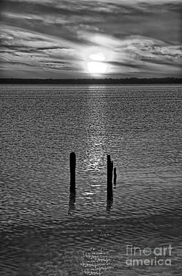 Photograph - Sunset Over Currituck Sound Bw by Dan Carmichael