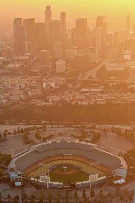 Photograph - Sunset Over Dodger Stadium by Greg Wyatt