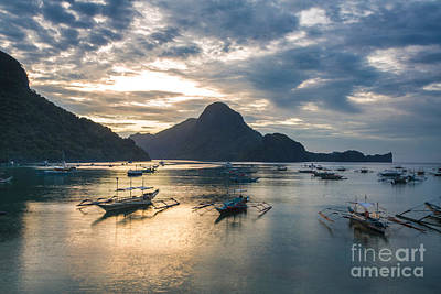 Sunset Over El Nido Bay In Palawan, Philippines Art Print