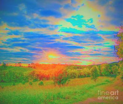 Photograph - Sunset Over Farm by Shirley Moravec