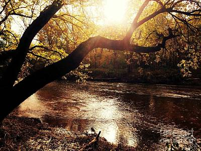 Sunset Over Flat Rock River - Southern Indiana Art Print by Scott D Van Osdol