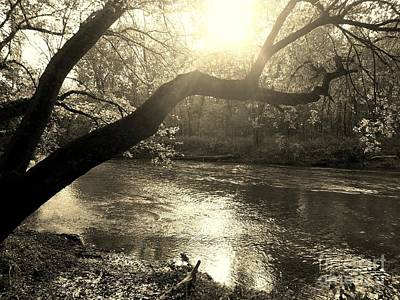 Sunset Over Flat Rock River - Southern Indiana - Sepia Art Print by Scott D Van Osdol