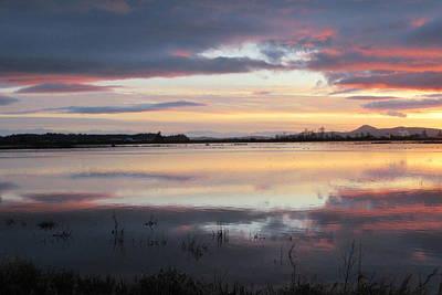 Photograph - Sunset Over Flooded Fields by Karen Molenaar Terrell