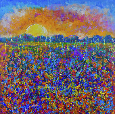 Painting - Sunset Over Flower Field by Maxim Komissarchik