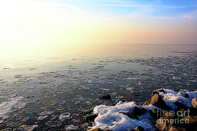 Photograph - Sunset Over Frozen Lake by Jan Brons