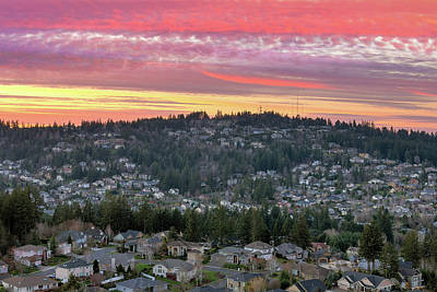 Photograph - Sunset Over Happy Valley Residential Neighborhood by David Gn