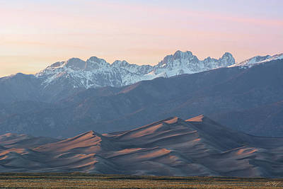 Sunset Over Star Dune And The Crestone Group Art Print by Aaron Spong