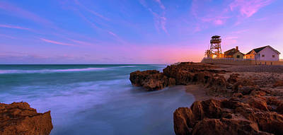 Sunset Over House Of Refuge Beach On Hutchinson Island Florida Art Print