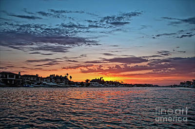 Photograph - Sunset Over Huntington Harbour by Peter Dang