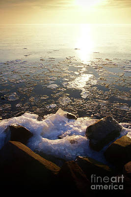 Photograph - Sunset Over Ice Lake by Jan Brons