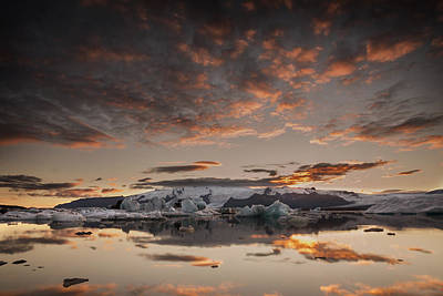 Photograph - Sunset Over Jokulsarlon Lagoon, Iceland by Chris McKenna