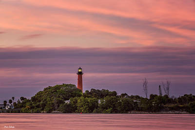 Photograph - Sunset Over Jupiter Lighthouse by Fran Gallogly