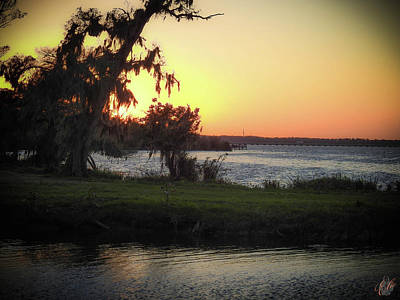 Photograph - Sunset Over Lake Jesup by Elie Wolf