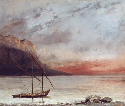 Courbet Painting - Sunset Over Lake Leman by Gustave Courbet