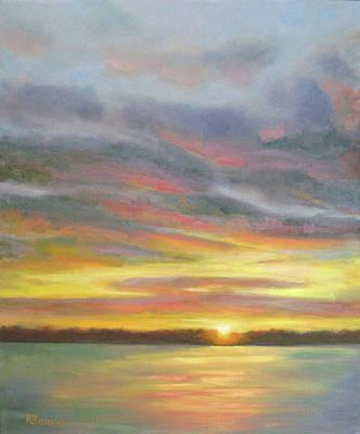 Sunset Over Lake Art Print by Robie Benve