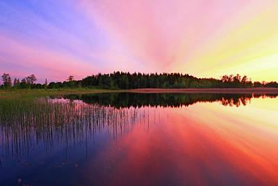 Sunset Over Lake Original