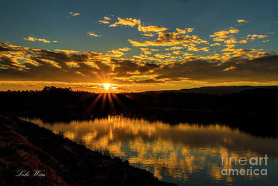 Photograph - Sunset Over Lake Weiss by Barbara Bowen