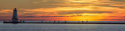 Lighthouse Photograph - Sunset Over Ludington Panoramic by Adam Romanowicz