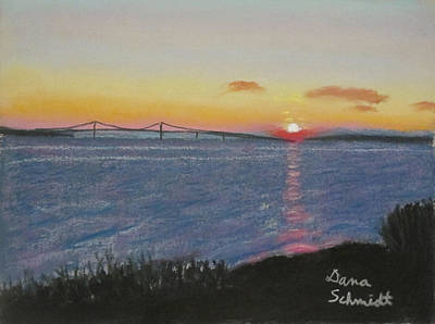Painting - Sunset Over Mackinac Bridge In Mi by Dana Schmidt
