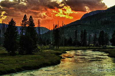 Sunset Over Madison River Art Print
