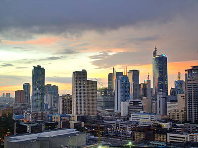Sunset Wall Art - Photograph - Sunset Over  Makati City, Manila by Neil Howard