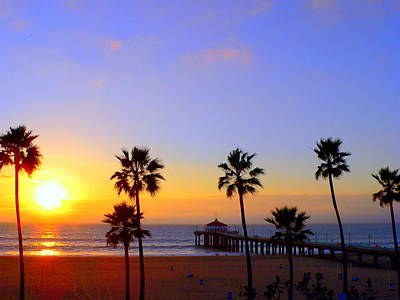 Sunset Over Manhattan Beach Art Print