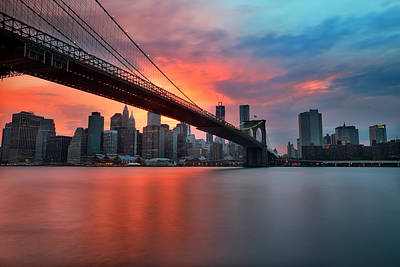 Brooklyn Bridge Photograph - Sunset Over Manhattan by Larry Marshall