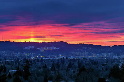 Oregon Photograph - Sunset Over Marquam Hill by David Gn