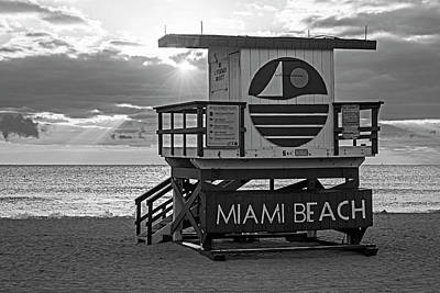 Photograph - Sunset Over Miami Beach Miami Lifeguard House Florida Black And White by Toby McGuire
