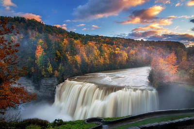Photograph - Sunset Over Middle Falls  by Mark Papke
