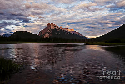 Photograph - Sunset Over Mount Rundle by Vivian Christopher